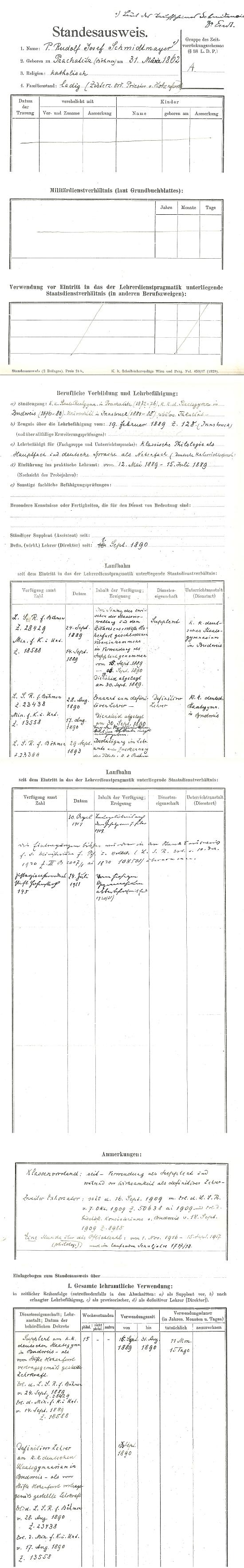 Jeho pracovní záznamy z českobudějovického německého gymnázia s podpisem ředitele Johanna Endta