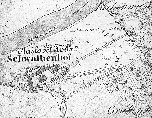 Dvůr Vlaštovičník na starých katastrálních plánech z prvé poloviny devatenáctého století...