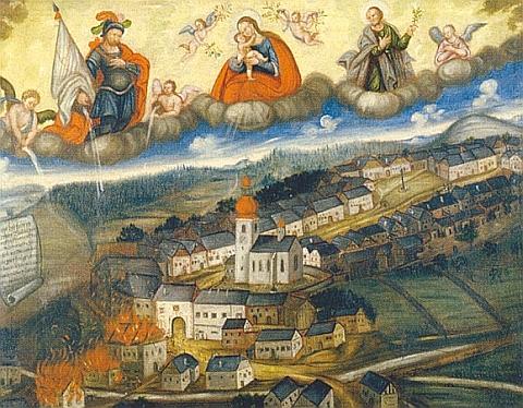 Votivní obraz z poutního kostela Panny Marie Pomocné u Rožmitálu na Šumavě zachycuje požár městečka a přispění sv. Floriana i Matky Boží