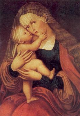 """Tzv. """"Fortgeher-Madonna"""" (tj. Madona těch, kteří odcházejí za prací, před níž se modlili za šťastný návrat) z kostela vRožmitále na Šumavě"""