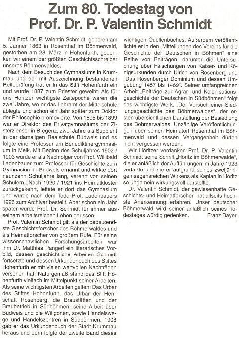 Článek Franze Bayera k 80. výročí jeho úmrtí ve čtrnáctideníku rakouského krajanského sdružení