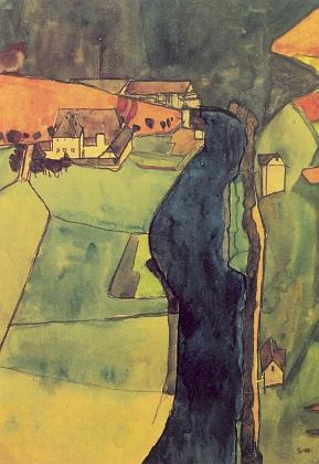 Dvůr Vlaštovičník na akvarelu z roku 1910, který Egon Schiele nazval Město na modré řece