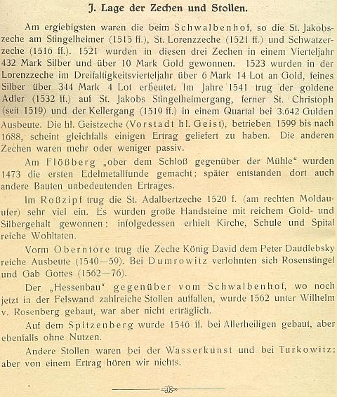 Tady ve své práci o krumlovském dolování vypočítává jeho nejvýznamnéjší lokality a právě ty při dvoře Vlaštovičník na prvém místě