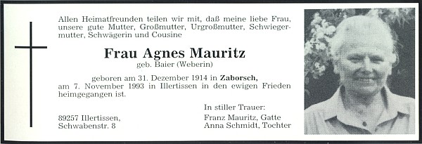 Parte její maminky Agnes, roz. Baierové