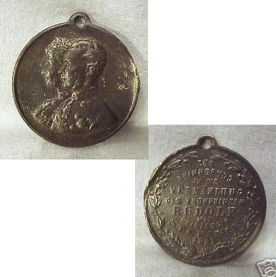 Pamětní medaile k zásnubám korunního prince Rudolfa a princezny Stefanie