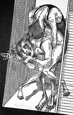Jedna z ilustrací Karla-Georga Hirsche (*1938 ve dnes polské Wróclawi) ke Schmidtově erotické povídce Martha Mandolini