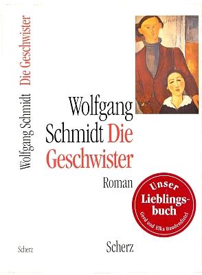 """Vnější a vnitřní strana obálky prvního vydání románu """"Die Geschwister"""" v nakladatelství Scherz s použitím obrazu Amedea Modiglianiho a se čtenářskou nálepkou, svědčící o oblíbenosti knihy"""