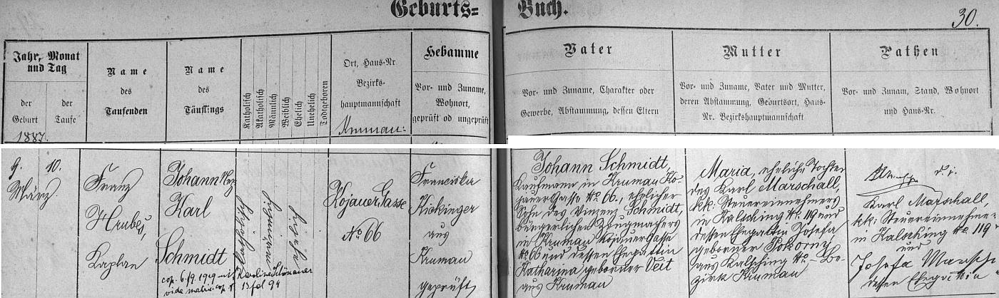 Záznam českokrumlovské křestní matriky o narození otcově 9. března roku 1887 na adrese Kájovská ulice čp. 66 (dnes je v tom domě hotel a restaurace Na Louži), z něhož vysvítá, že Johann Nepomuk Karl Schmidt byl synem zdejšího obchodníka Johanna Schmidta (syna Vinzenze Schmidta a Kathariny, roz. Veitové) a Marie, roz. Marschallové z Chvalšin čp. 119, den po narození ho v kostele sv. Víta pokřtil kaplan František Hrubeš (1851-1927), rodák z Chlumu u Křemže a autor česky psané modlitební knihy, pozdější přípis pak uvádí datum svatby Johanna Karla Schmidta s Karoline Schönauerovou