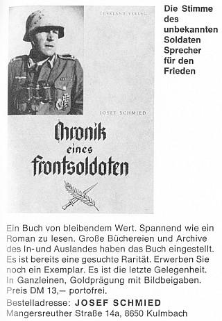 """Inzerát na jeho knihu (1970) o zážitcích poddůstojníka 98. pěší """"sudetoněmecké a chebské"""" divize, vyznamenaného v roce 1944 rytířským křížem, kterou sám charakterizuje jako """"hlas neznámého vojáka pro mír"""" a která vyšla 1985 ve druhém vydání"""