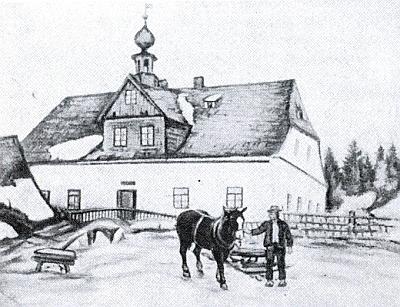 """Na ilustraci k jeho textu o Schlösselwaldu v knize, odkud je převzat, je týž dům označen jako """"Vinzenzhof"""" či """"Schulhauser"""" (na plánku osady má čp.19 /Wirtshaus/, resp. čp. 18 a 18a, a je dnes k nepoznání přestavěn, název """"Kamenný dům"""" však nese dál)"""