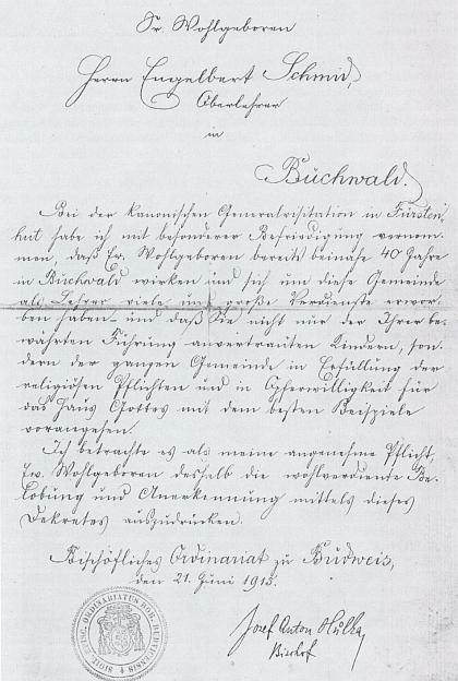 Pochvalný list českobudějovického biskupa Hůlky řídícímu učiteli Engelbertu Schmidovi v Bučině z června 1915 za téměř 40 let tamního pedagogického působení