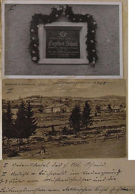 Pamětní deska jeho otci na škole v Bučině a pohlednice z roku 1923, zachycující s pýchou elektrické vedení dovsi, figurující hned v úvodu obecní kroniky
