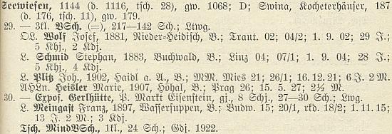 Tady je jmenován jako absolvent učitelského ústavu v Linci z roku 1904 mezi učiteli v Zejvízu (dnes Javorná) k roku 1928