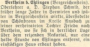 Zpráva z roku 1955 ma stránkách krajanského měsíčníku o jeho přesídlení do Berkheimu, kde vroce 1967 i zemřel