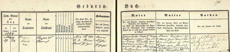 Záznam o jeho narození v křestní matrice města Stříbra