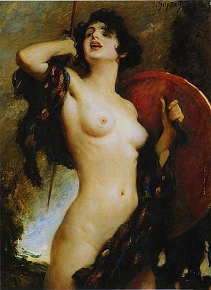 """Další z mnoha jeho obrazů, zachycujících ženy, """"Valkýra"""""""