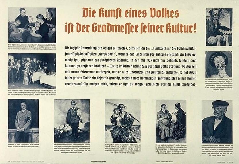 """""""Umění lidu je měřítkem jeho kultury"""" - na nacistickém propagandistickém plakátu byl použit jeho obraz """"Mateřská láska a práce"""" (doleuprostřed)"""