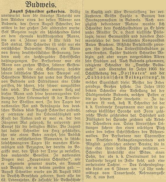 Obsáhlý nekrolog v jiném regionálním německém listě