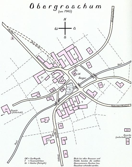 Na plánku vsi Horní Chrášťany je čp. 21 jasně patrné
