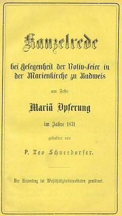 Obálka (1871) kázání, z něhož pochází náš textový úryvek