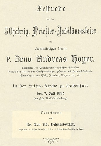 Titulní list (1895) slavnostního projevu  ke kněžskému jubileu Zeno Hoyera