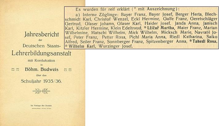 Seznam maturantů učitelského ústavu v Českých Budějovicích 1936, v němž vedle Josefa Navratila figurují i Anna Dolzerová, rozená Jandaová, a Rosa Tahedlová