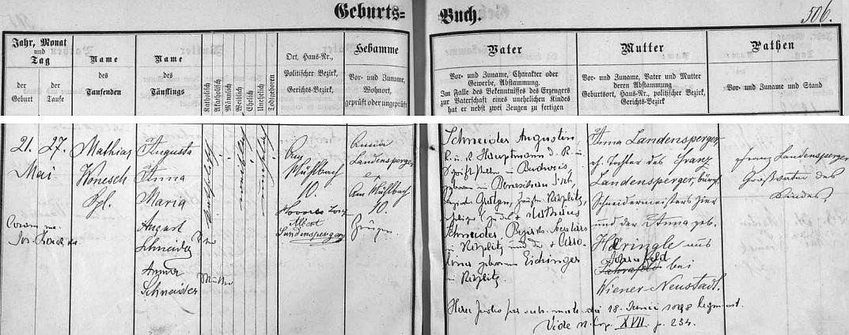 Záznam o narození jeho matky Augusty Anny Marie, později provdané Navratilové, kterou její otec August Schneider legitimizoval až dvacetiletou v den své svatby s její matkou Annou, roz. Landenspergerovou