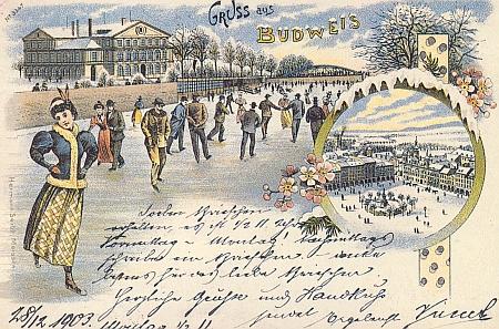 Led na Malši před Německým domem na barevné pohlednici z počátku dvacátého století