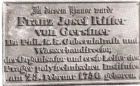 Pamětní deska na Gerstnerově rodném domě v Chomutově