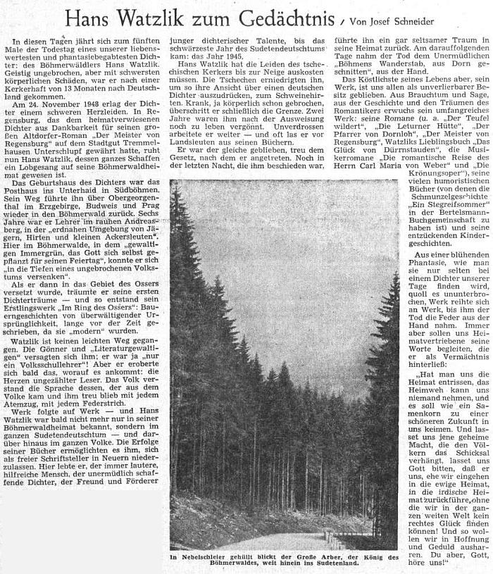 K pátému výročí úmrtí Hanse Watzlika napsal v prosinci 1953 tento článek do ústředního listu vyhnaných krajanů