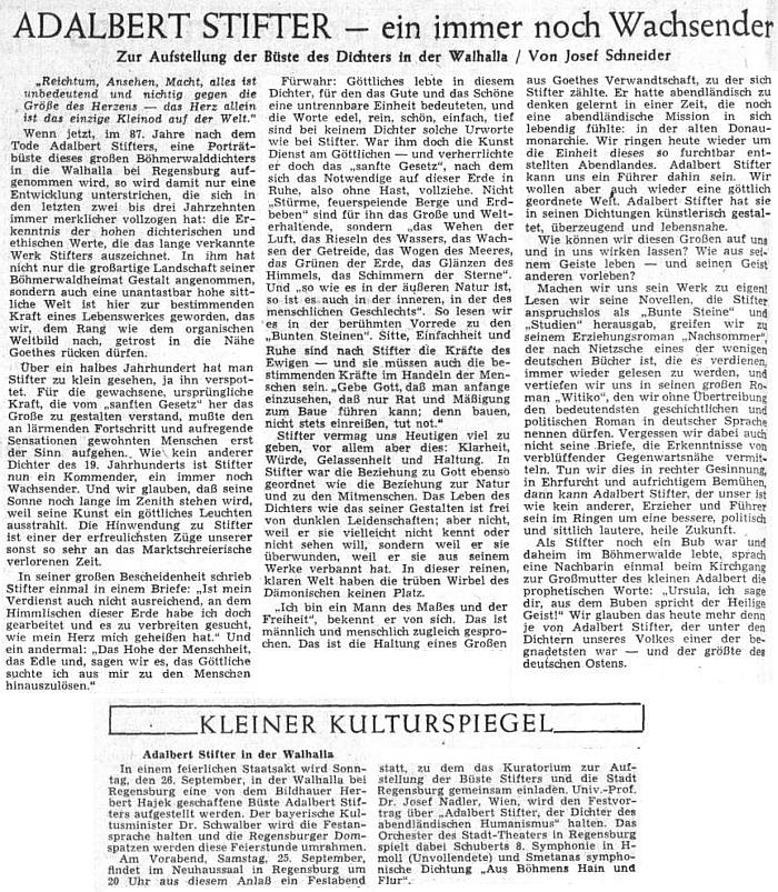 K umístění Stifterovy bysty ve Walhalle přinesl Sudetendeutsche Zeitung tento jeho článek, doprovázený zprávou, že v předvečer slavnostního aktu zazněla v Řezně i Smetanova symfonická báseň Z českých luhů a hájů