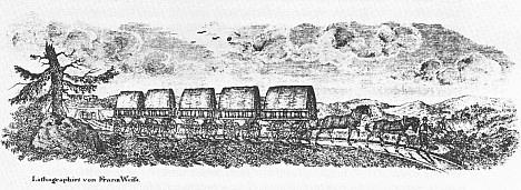 Koněspřežka na litografii Matthiase Schönerera asi z roku 1835...