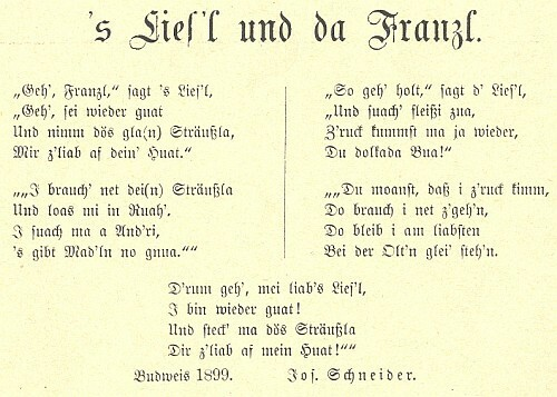 Jeho datovaná nářeční báseň z prvého ročníku časopisu Der Böhmerwald (1899)