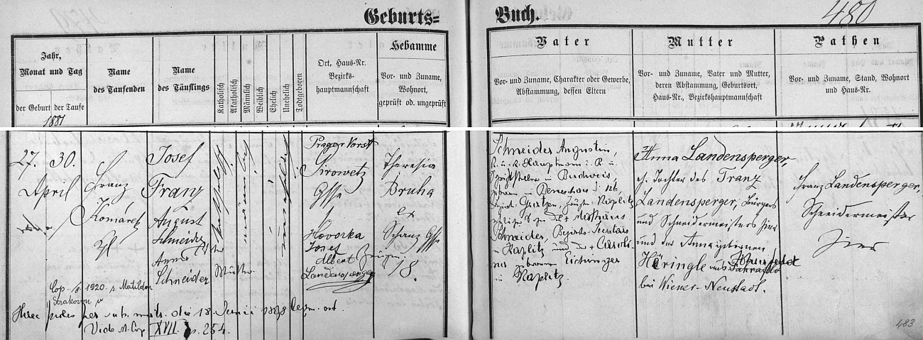 """Podrobný záznam o jeho narození v rodině c.k. setníka v záloze a spisovatele Augustina (Augusta) Schneidera a jeho ženy Anny, roz. Landenspergerové (legitimní manželský svazek uzavřeli rodiče dítěte podle latinské poznámky vlevo dole až 18. července roku 1898), včeskobudějovické matrice, kde nacházíme i latinsko-český přípis o svatbě Josefově roku 1920 """"s Matildou Strakovou"""""""
