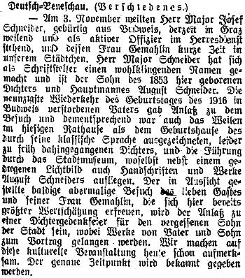 """Českobudějovický německý list přinesl v listopadu 1943 zprávu o návštěvě """"majora Schneidera"""" v rodném otcově Německém Benešově"""