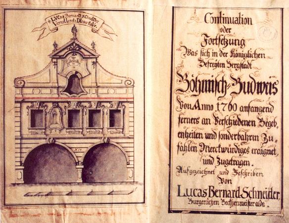 Titulní list jeho kroniky z roku 1760 a frontispis, zachycující štít pekařova domu s podloubím