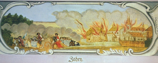 Velký sál zámku v Horažďovicích uchovává veduty Budějovic, Hluboké a Zahájí z časů válek o rakouské dědictví, jak je popisuje i Schneider ve své pamětní knize