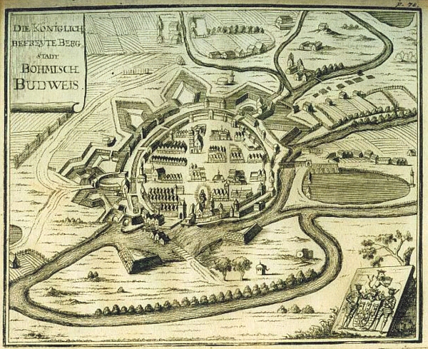 """Rytina Mauritia Vogta z knihy """"Das Letzt-lebende Königreich Böhmen"""" (1712) zachycuje jeho rodné město někdy v letech, kdy tu přišel na svět"""