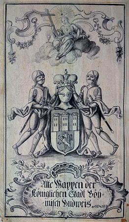 """""""Vladislavský"""" znak města české Budějovice z jeho kroniky"""