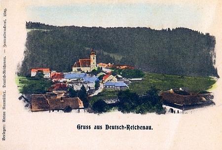 Ještě jedna pohlednice kolorovaná, tentokrát od vydavatele Antona Neumüllera z Lince