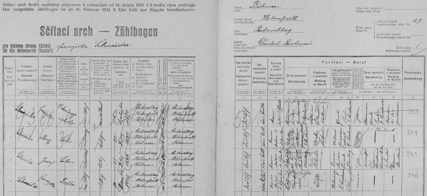 Arch sčítání lidu z roku 1921 pro dům čp. 47 v Rychnůvku, kde žila vdova Franziska Schneiderová se syny Maxem a Josefem adcerou Franziskou