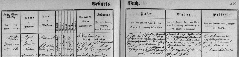 Záznam o jeho narození v křestní matrice farní obce Rychnůvek s pozdějším přípisem o svatbě s Marií Kohlmillerovou