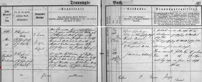 Záznam o svatbě jeho rodičů na stránkách oddací matriky farní obce Rychnůvek