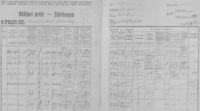 Arch sčítání lidu z roku 1921 pro stavení čp. 27 vv Rychnůvku s rodinou Kohlmillerových, odkud si přivedl nevěstu Marii (*26. května 1902)