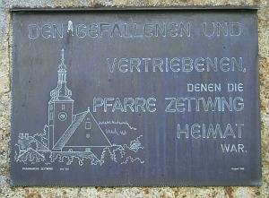 Památník vyhnaným obyvatelům Cetvin u blízké rakouské obce Hammern