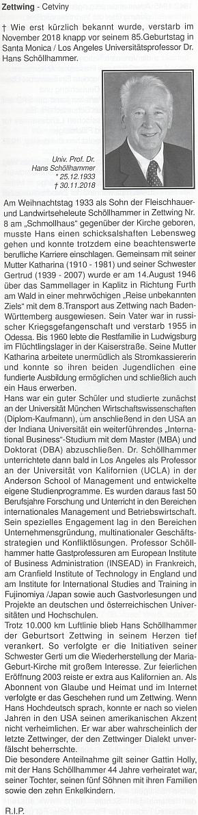 Nekrolog jejího bratra Hanse, který se stal v USA univerzitním profesorem