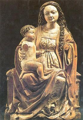 Madona z Cetvin, dnes ve fondu Alšovy jihočeské galerie, která vydává i tuto pohlednici