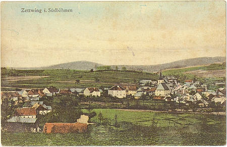 Stará barevná pohlednice někdejšího městečka Cetviny (viz i Robert Böhmdorfer a Alois Harasko a Katharina Plodeková)