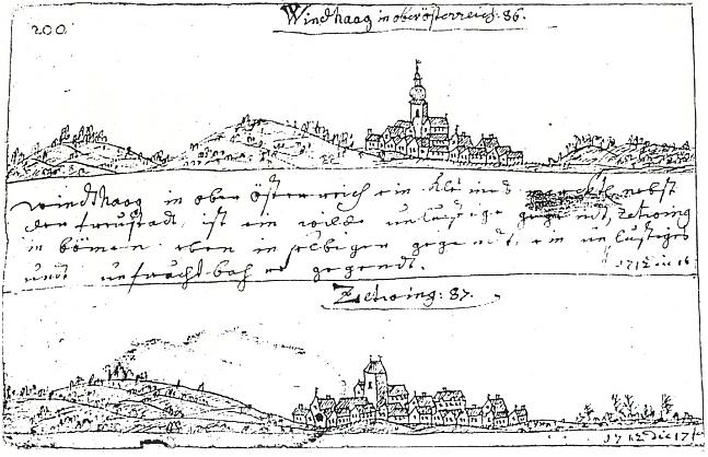 Rakouský Windhaag a blízké Cetviny na stránce cestovního skicáře slezského kreslíře vedut Friedricha Bernharda Wernera, obě kresby datované rokem 1712 a svádějící k domněnce, že může jít i o záměnu obou míst - pravděpodobnější ovšem je, že Werner zachytil stav kostelů ve Windhaagu i v Cetvinách předtím, než se jejich podoba po požáru každého z nich změnila