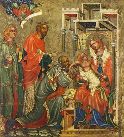 Klanění svatých Tří králů na obraze Mistra Vyšebrodského oltáře